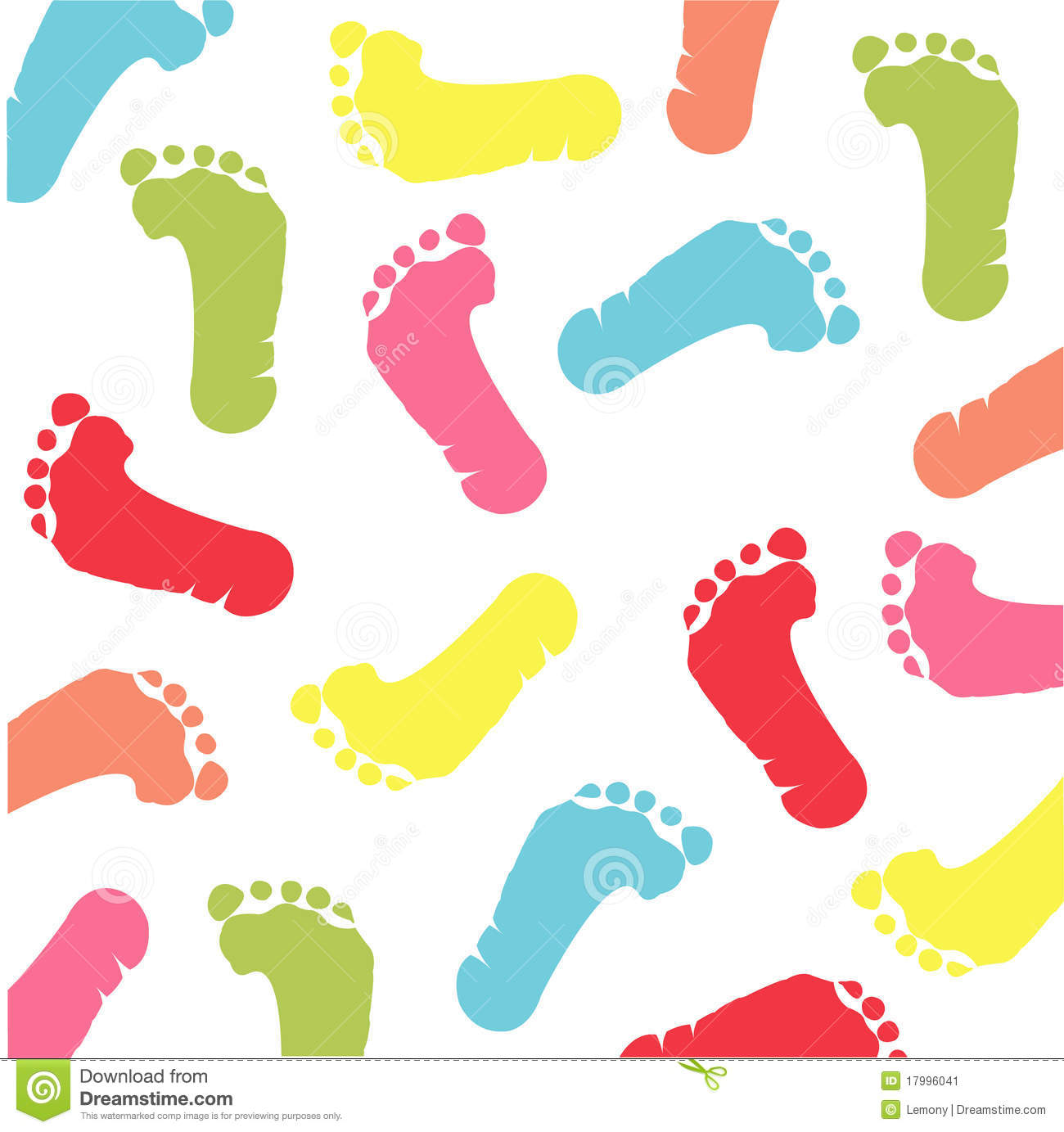 Colorful footprint pattern on the white background.