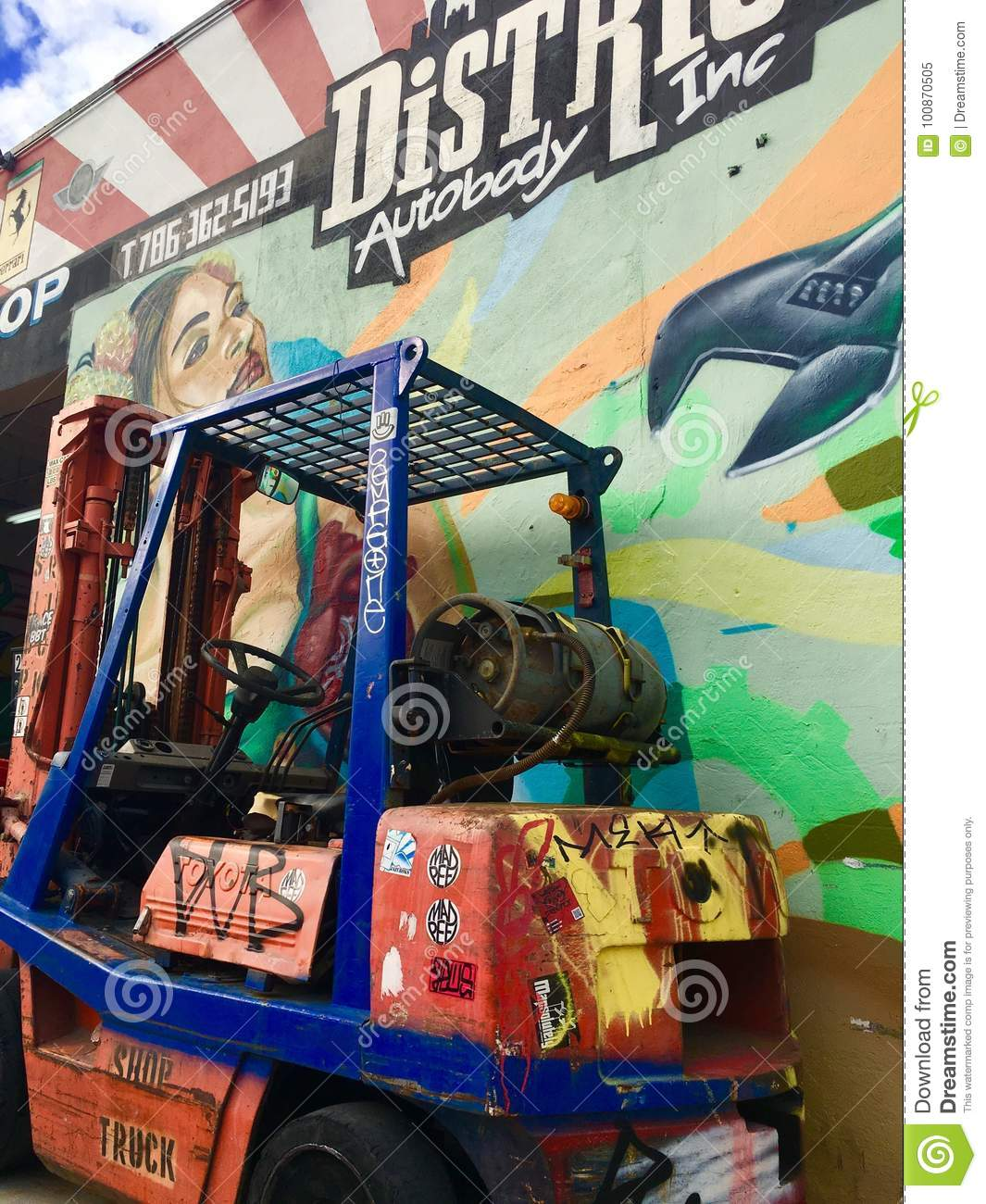 Colorful Forklift And Art Editorial Image Image Of Body 100870505
