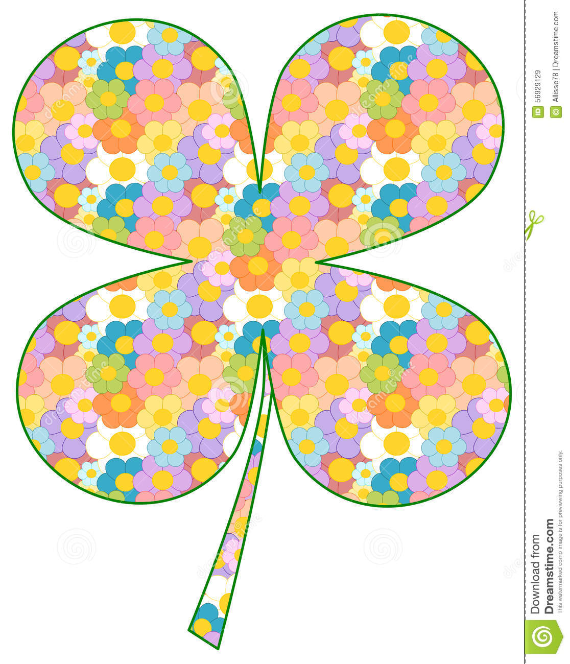 colorful four leaf clover patterned with cartoon daisy flowers