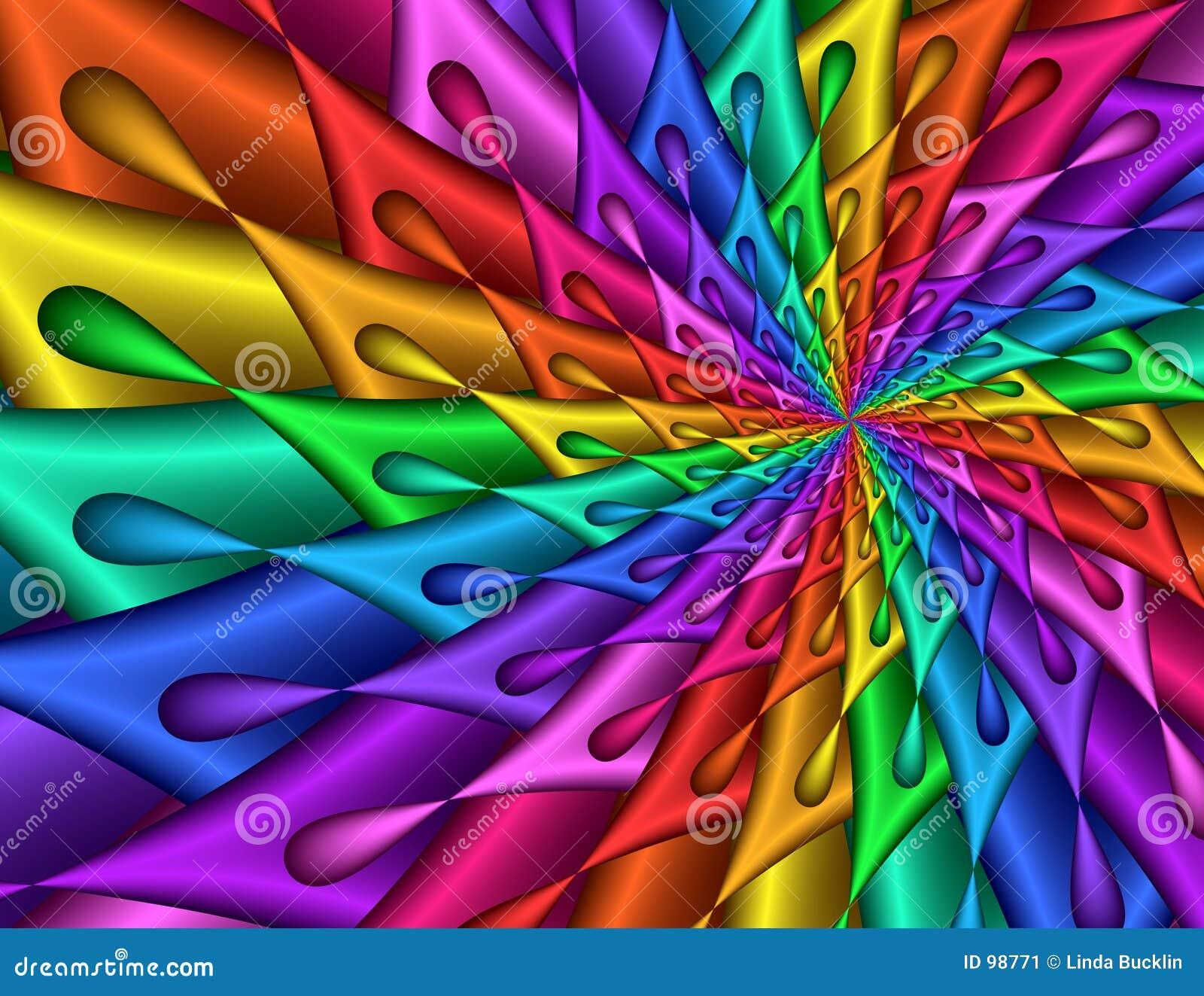 Colorful fractal image spiral teardrop