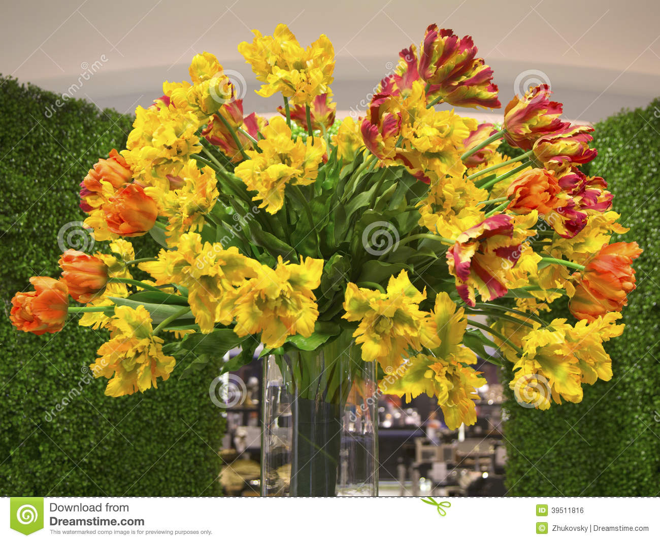 Colorful fragrant spring bouquet of tulips