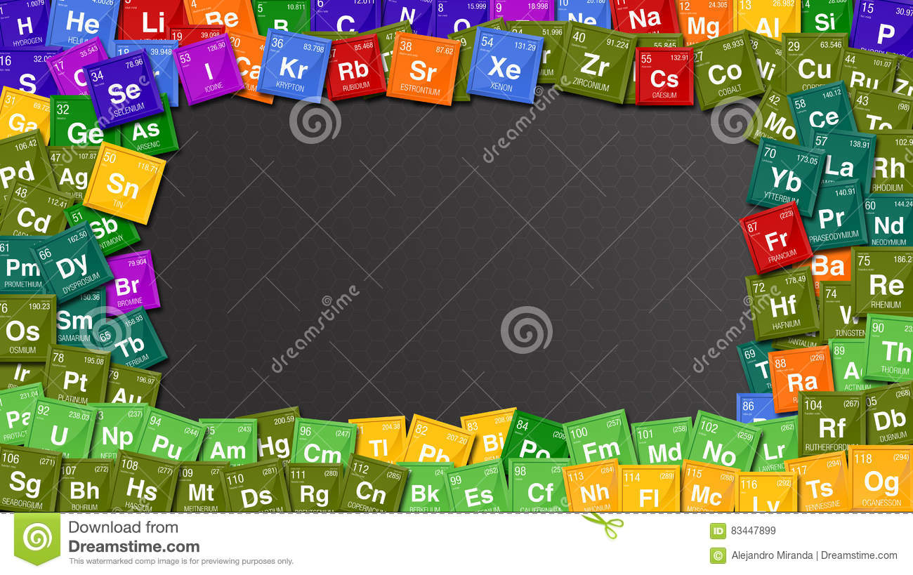 Colorful Frame Made With Symbols Of The Periodic Table Of The
