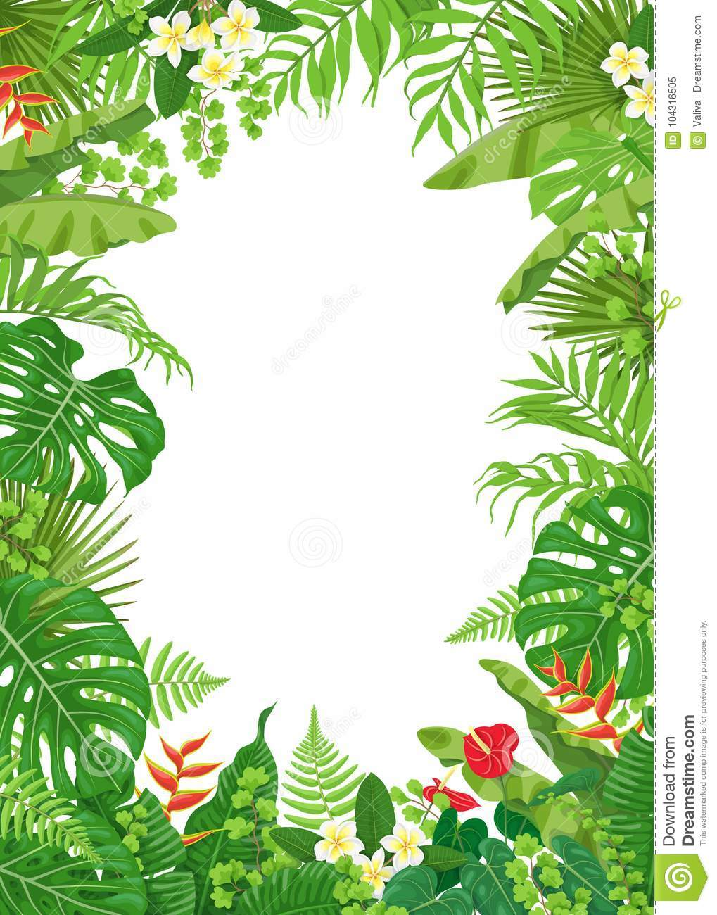 Colorful Frame With Tropical Plants Stock Vector