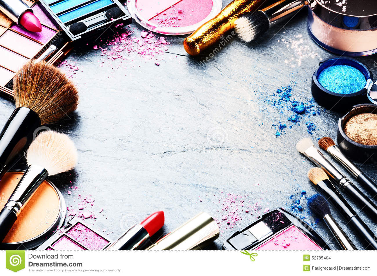 Colorful Frame With Various Makeup Products Stock Photo Image 52785404