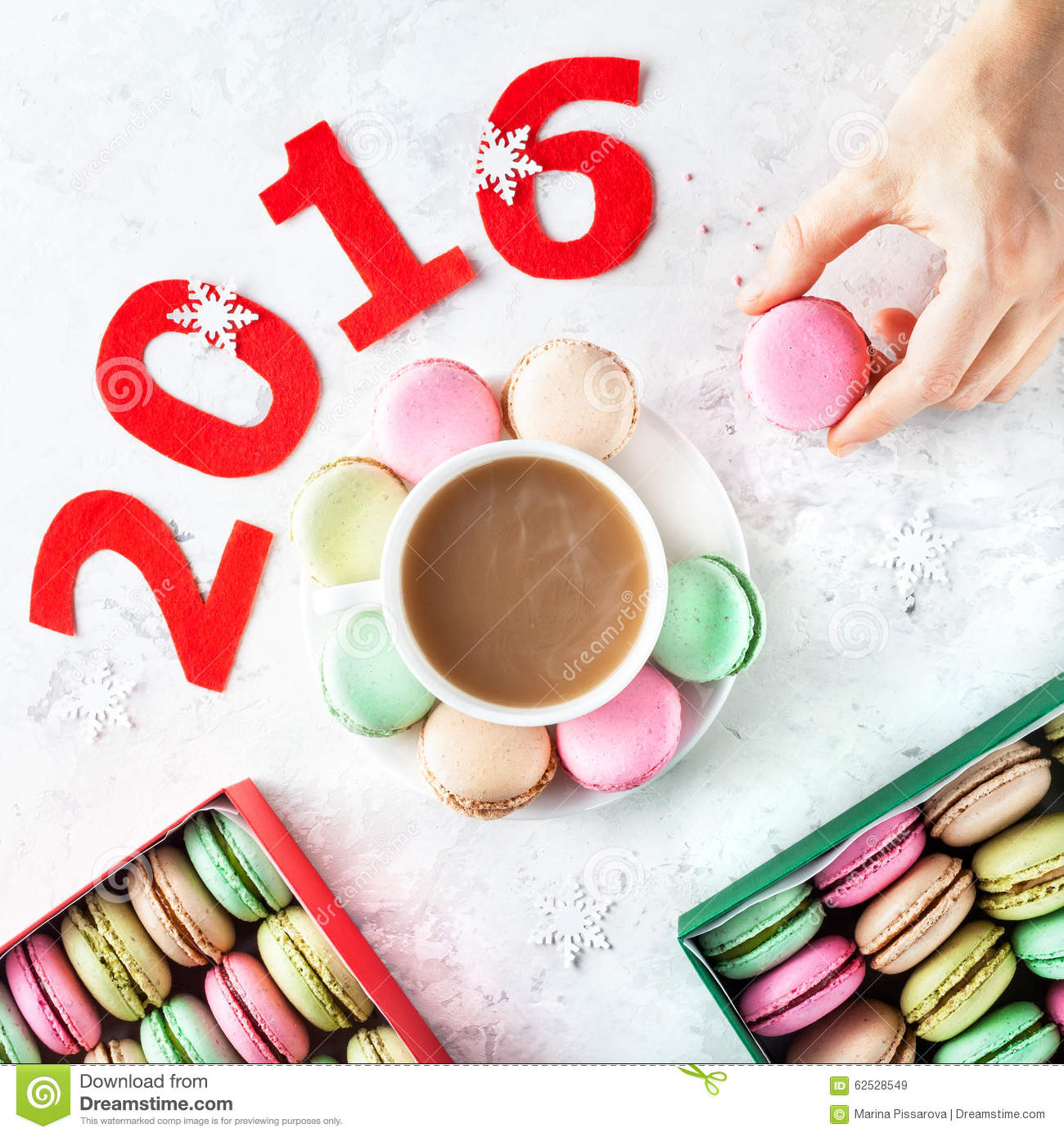 Colorful French Macarons At New Year Time Stock Photo