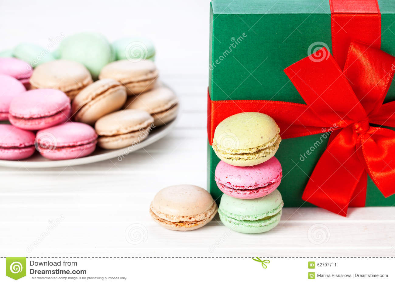 Colorful French Macarons Present Stock Photo Image 62797711