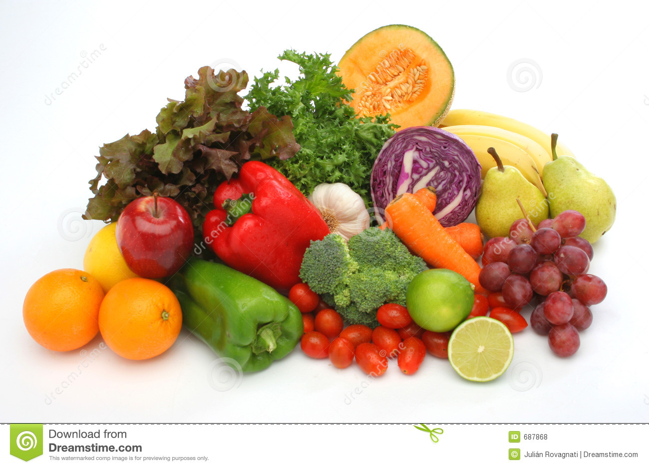 Colorful fresh group of vegetables and fruits
