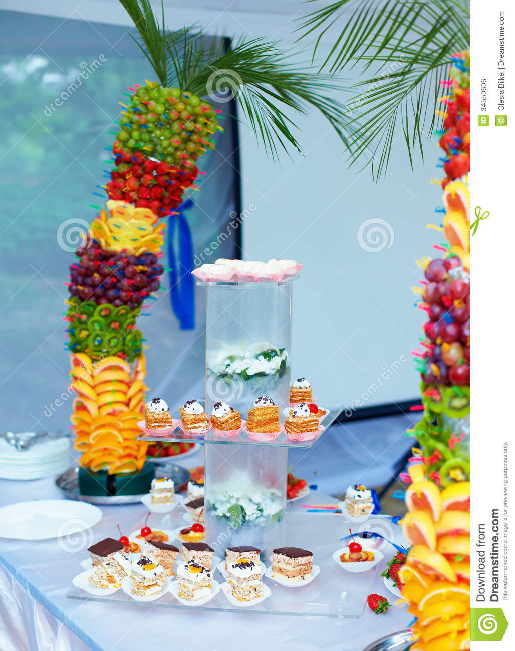 colorful fruit and cake decoration on banquet party stock photo image of beautiful berry. Black Bedroom Furniture Sets. Home Design Ideas