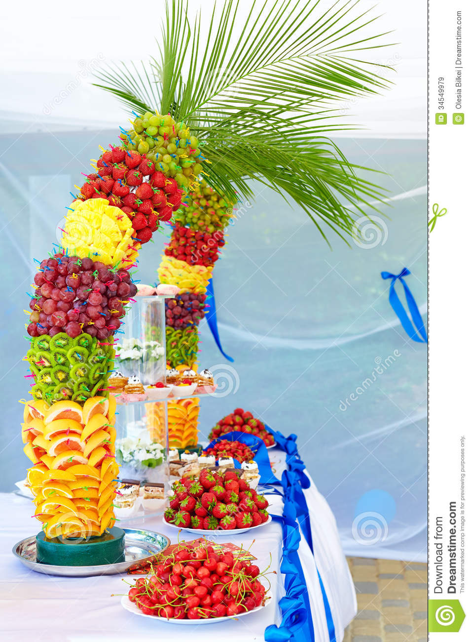 colorful fruit and cake decoration on banquet party stock image image of event group 34549979. Black Bedroom Furniture Sets. Home Design Ideas