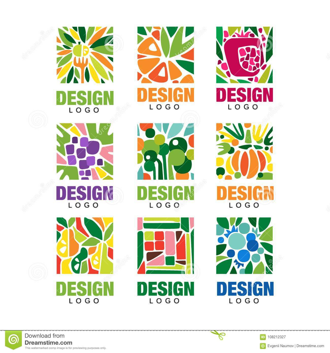 Colorful fruit logos collection. Original label template in rectangular shape. Healthy food concept. Flat vector design