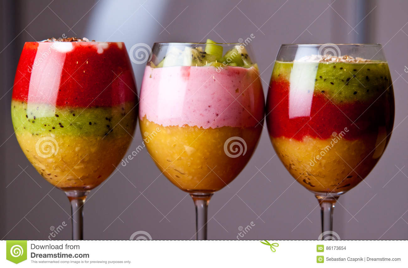 Colorful Fruit Mousse In Glass Stock Photo Image Of Diet