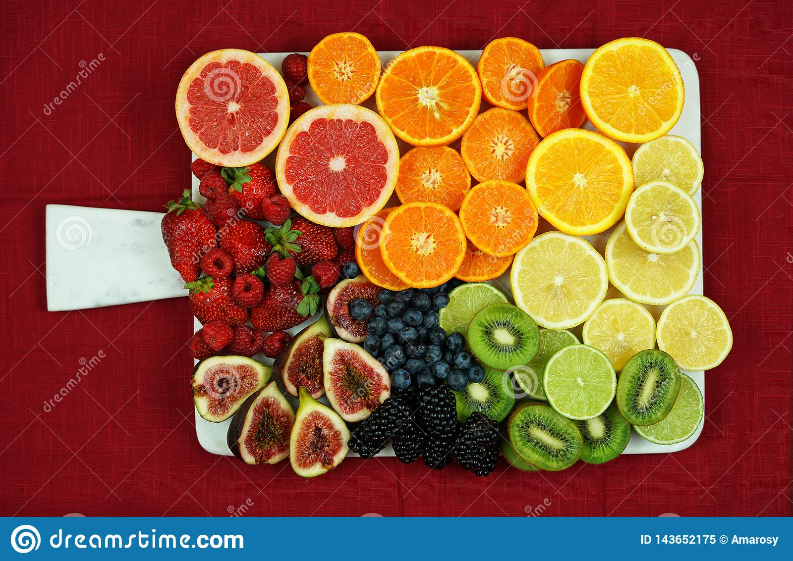 Colorful Fruit Platter Assembly With Rainbow Color Fruit Pieces Including Citrus Berries Figs And Kiwi Fruit Stock Image Image Of Food Countertop 143652175