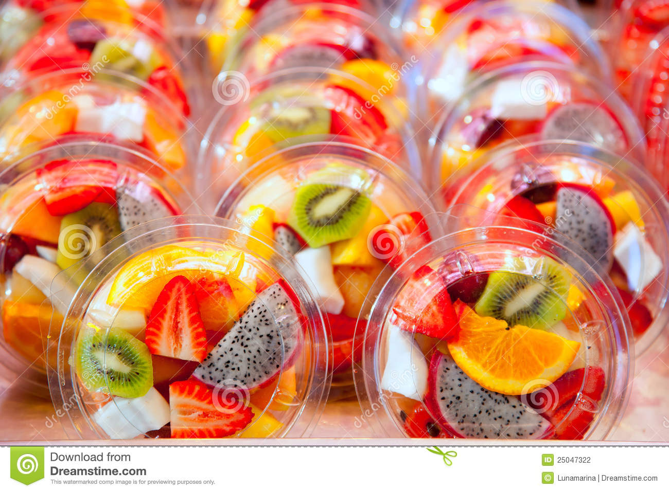 Colorful Fruit Salad In Transparent Glasses Stock ...