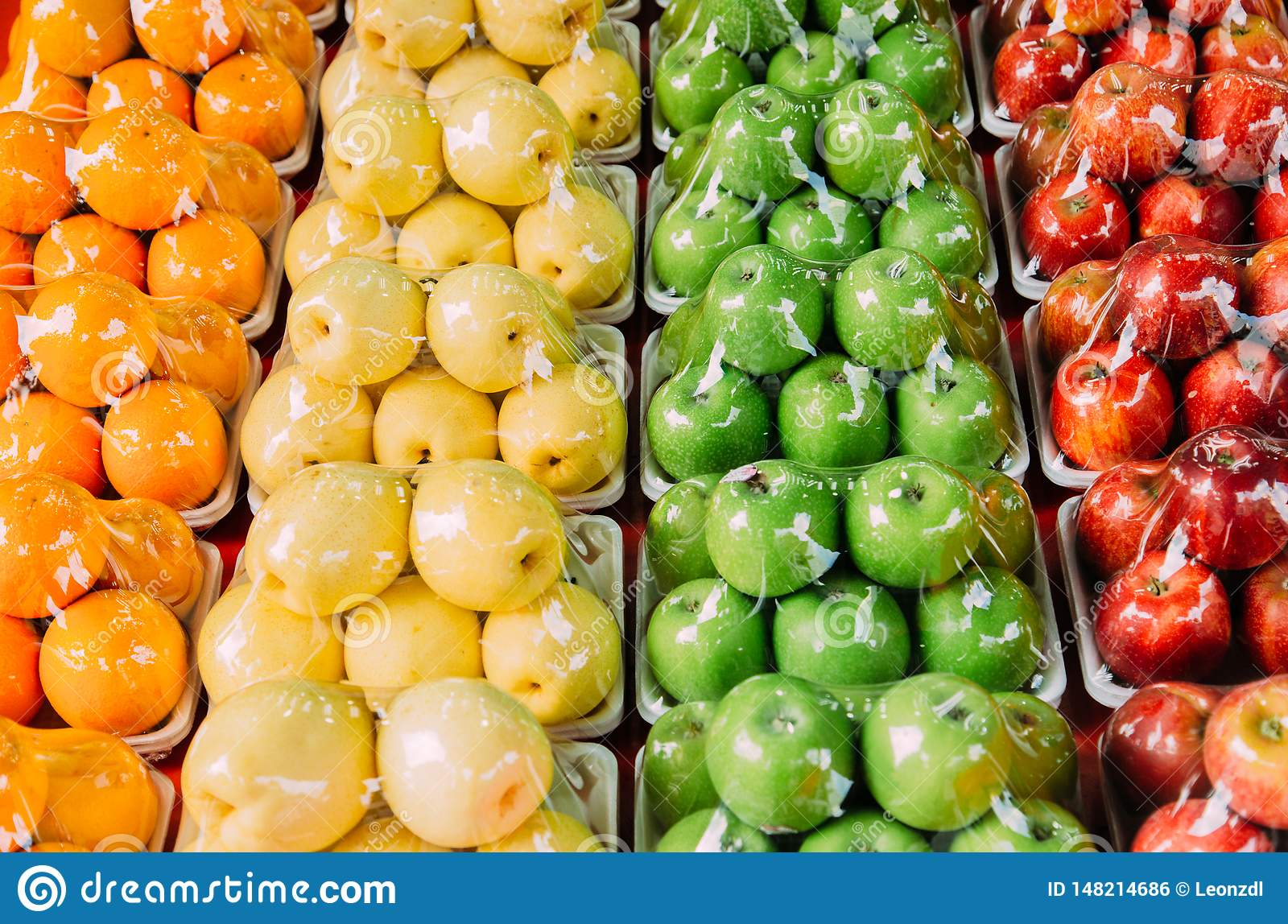 Colorful fruits display in supermarket