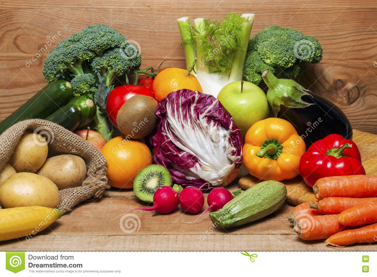 Colorful Fruits And Vegetables Background Stock Photo ...