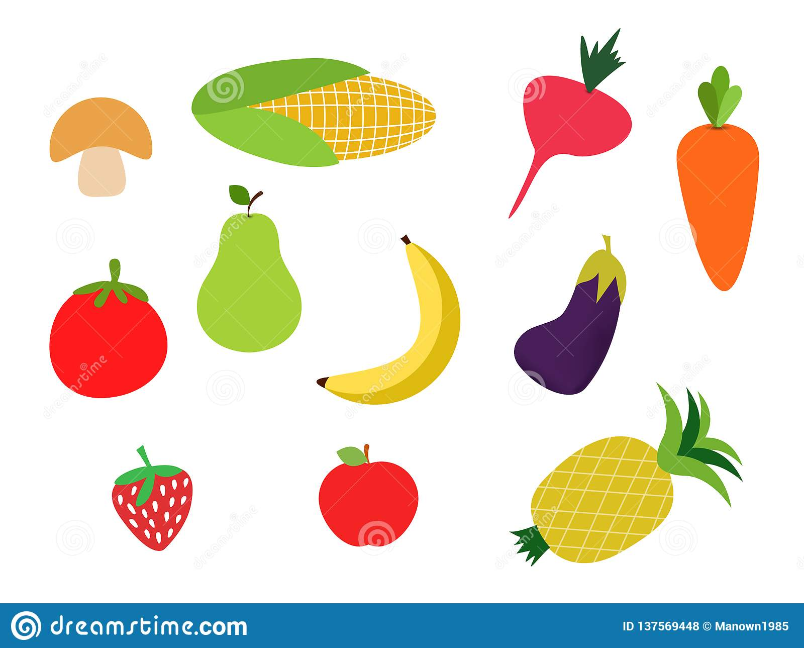 Colorful Fruits And Vegetables Clipart Set Banana Carot Stock Vector
