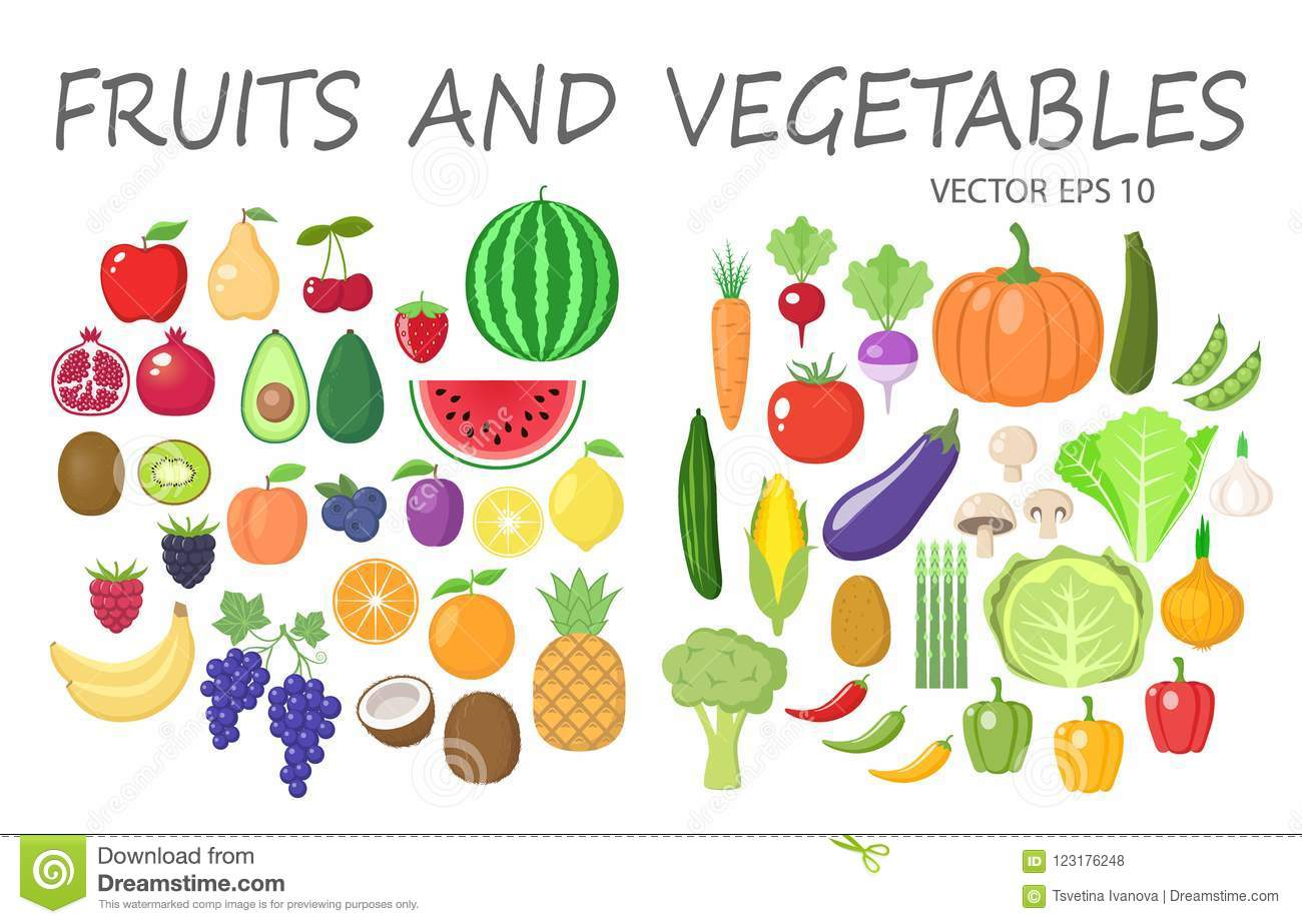 Colorful fruits and vegetables clipart set. Fruit and vegetable colored cartoon collection.