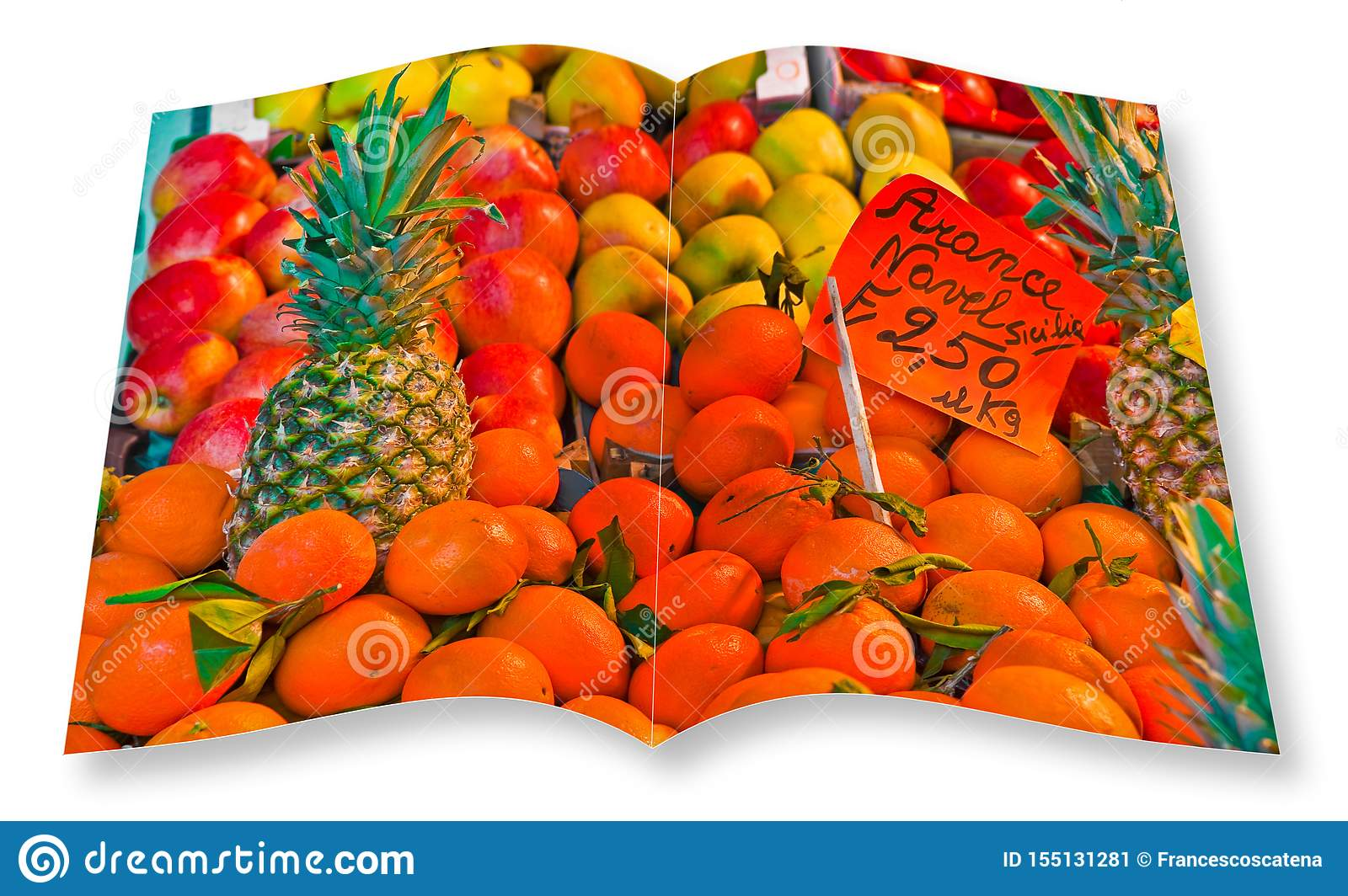 Colorful fruits and vegetables from organic agriculture exhibited in a italian market - 3D render of an opened photo book isolated