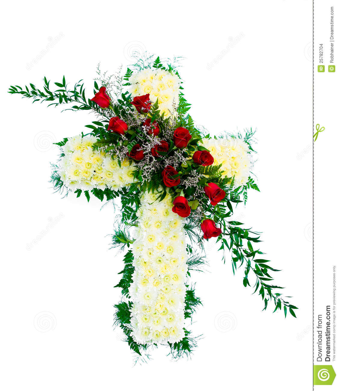 Colorful Funeral Flower Arrangement In Cross Shape Stock Photo