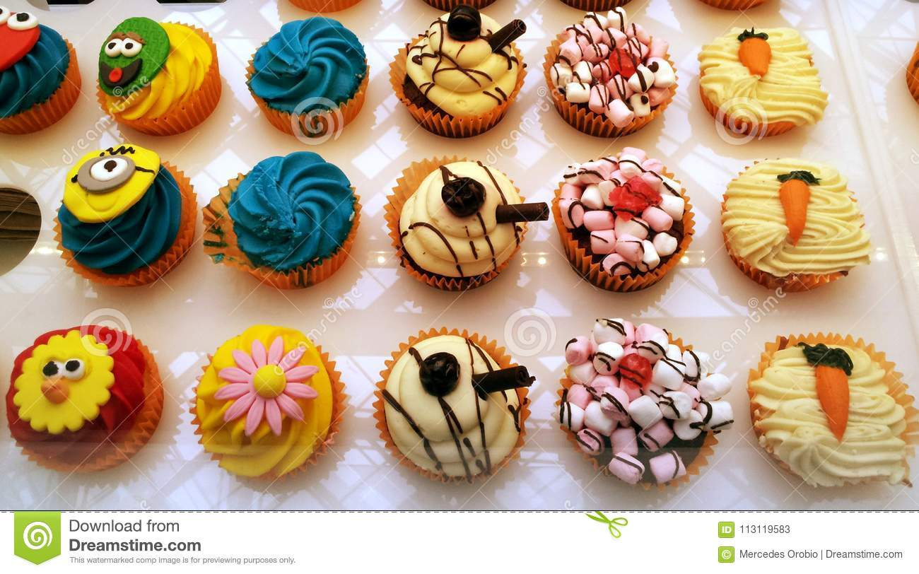 Colorful and funny cakes stock image. Image of colouring