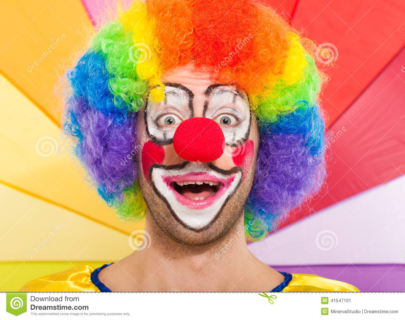 Colorful funny clown face portrait stock image image for Face painting clowns for birthday parties