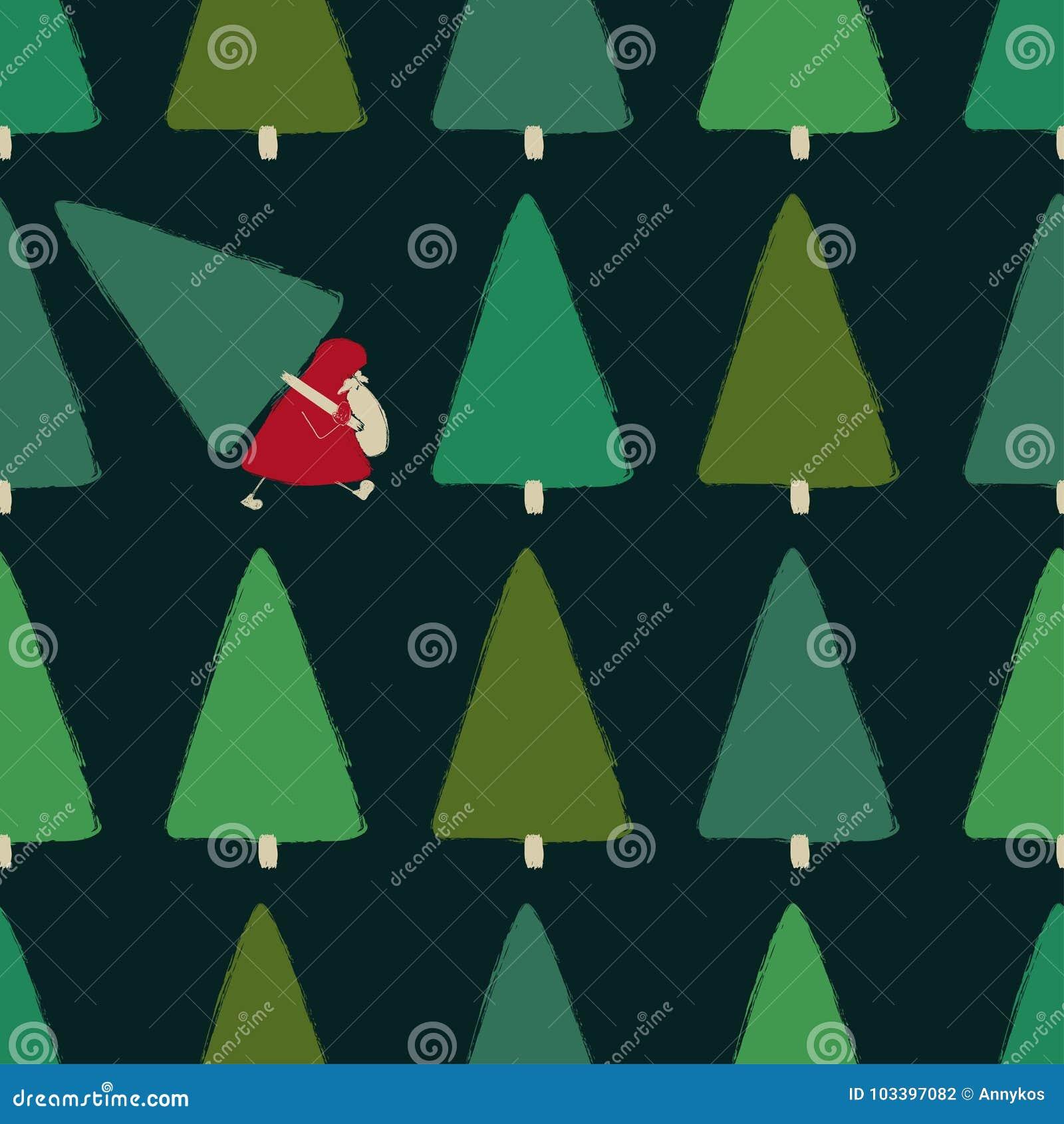 Santa Stealing Christmas Tree Seamless Pattern.