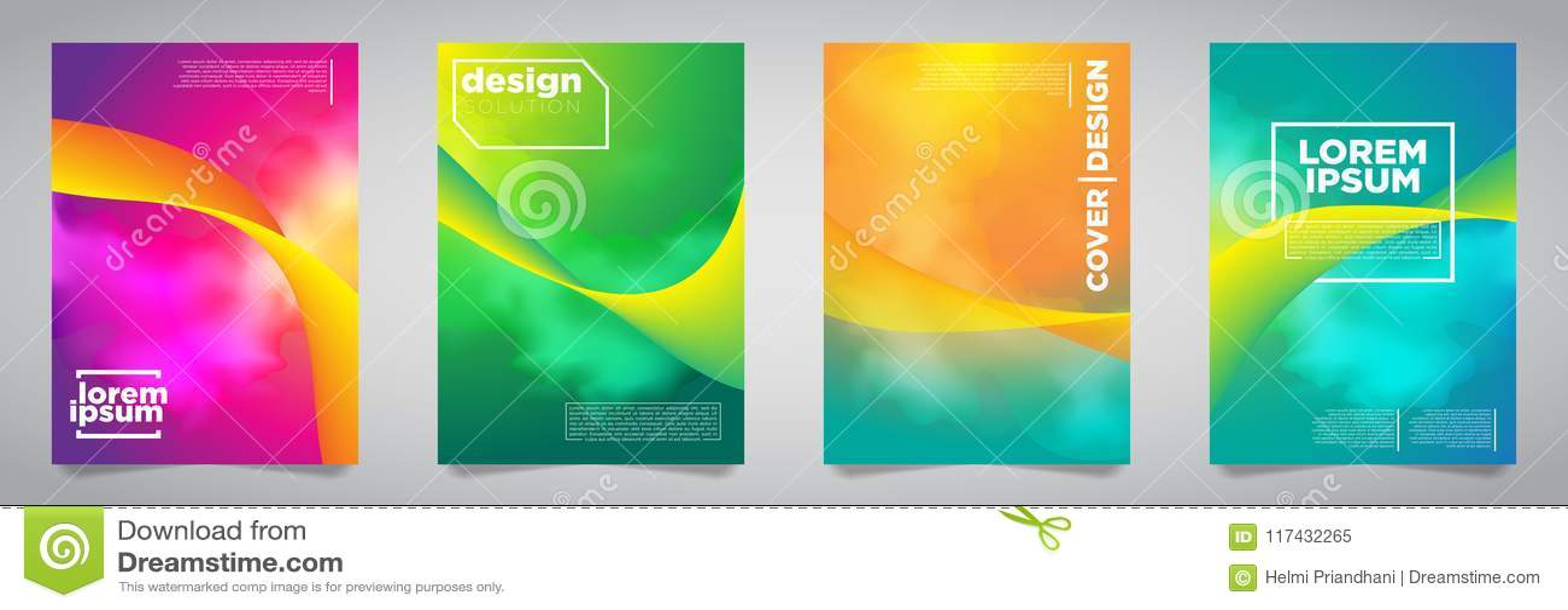 Colorful Futuristic Minimalist Covers Design. EPS10 Vector Illustration.