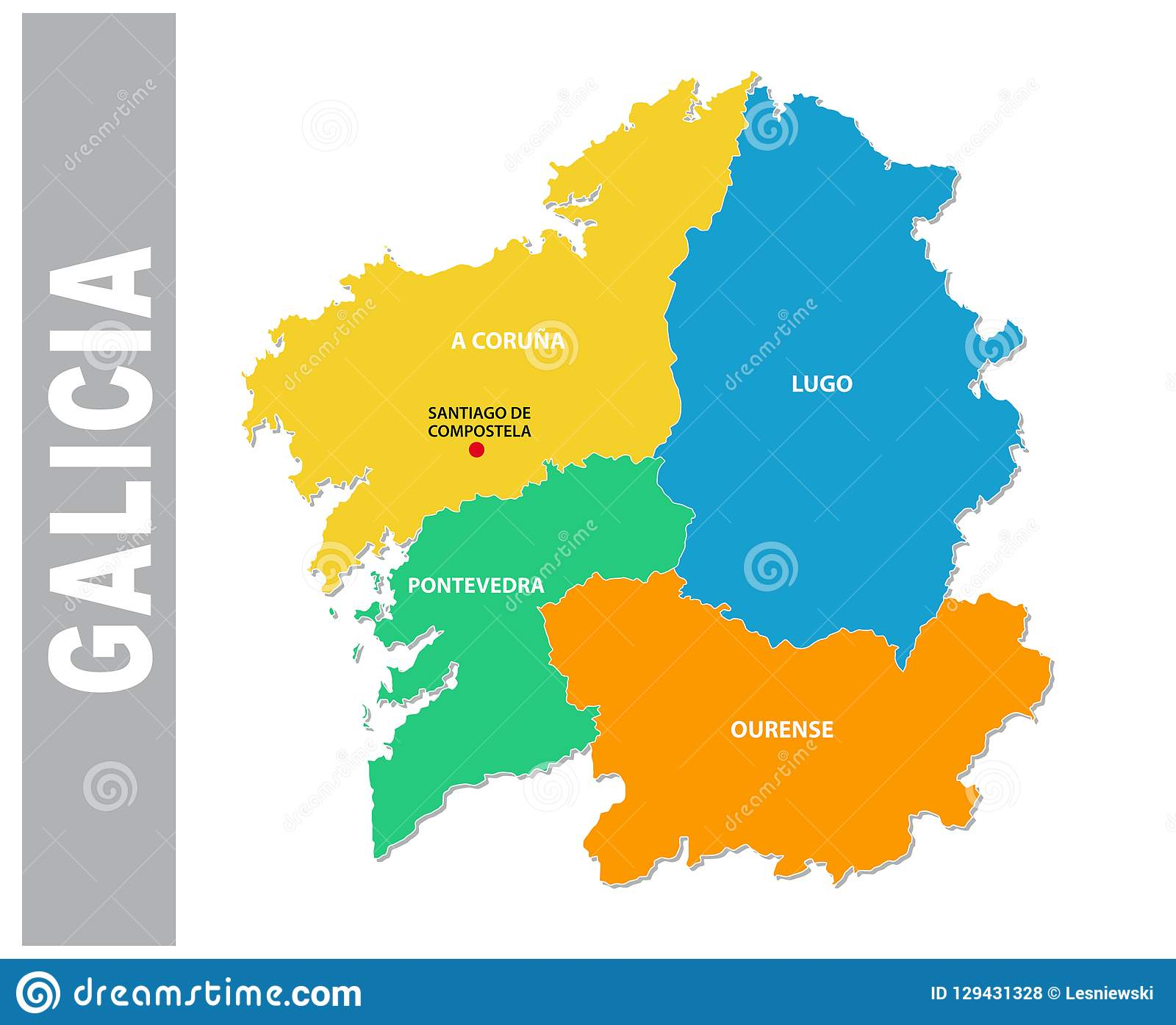 Colorful Galicia Administrative And Political Vector Map Stock ... on