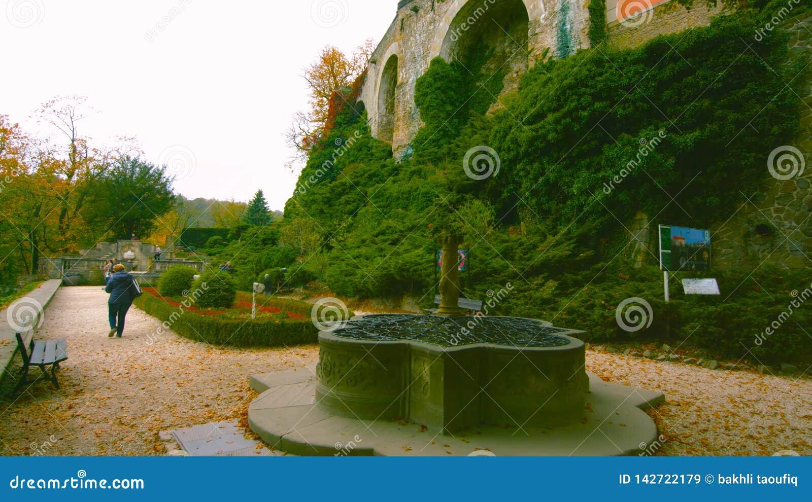 Colorful garden with fountain in spring near -poland 2019-  - Bilder