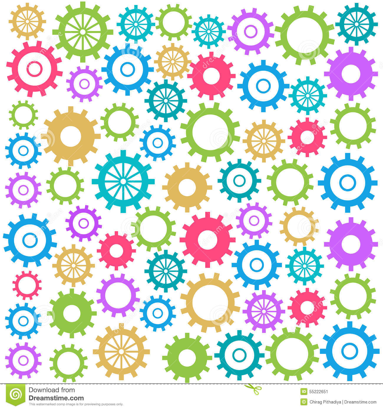 Colorful Gears Background Square Stock Illustration ...