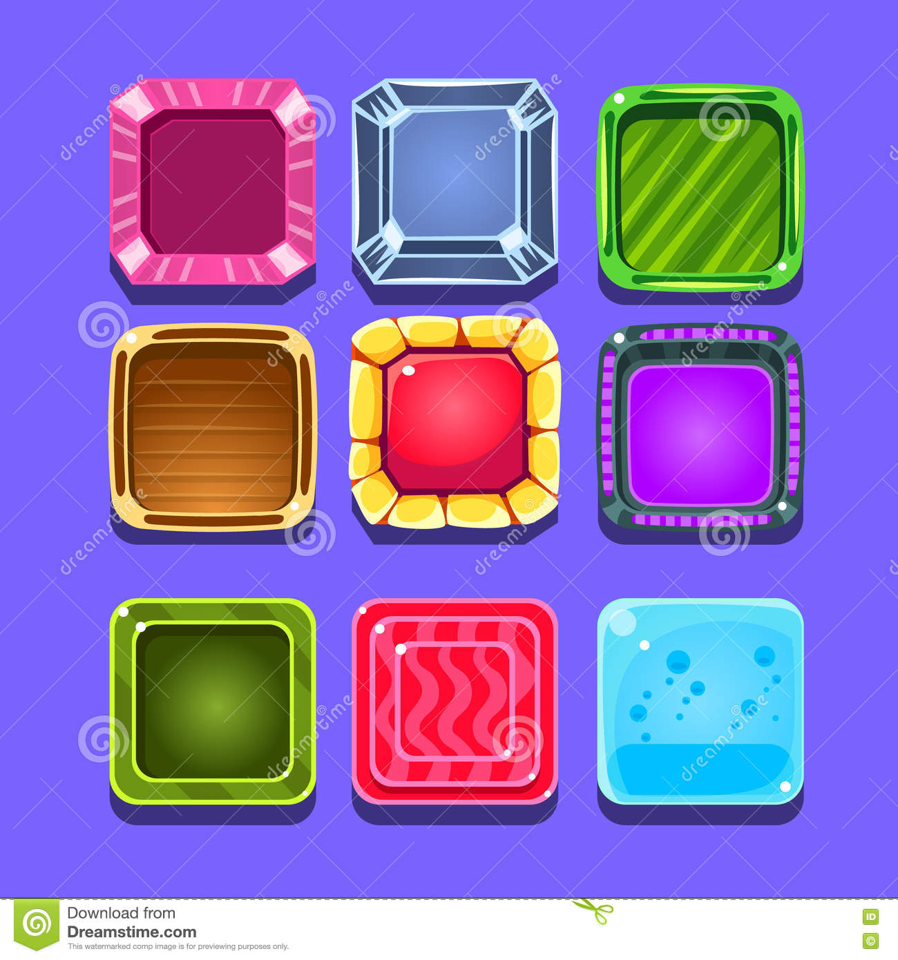 Colorful Gems Flash Game Element Templates Design Set With Square ...