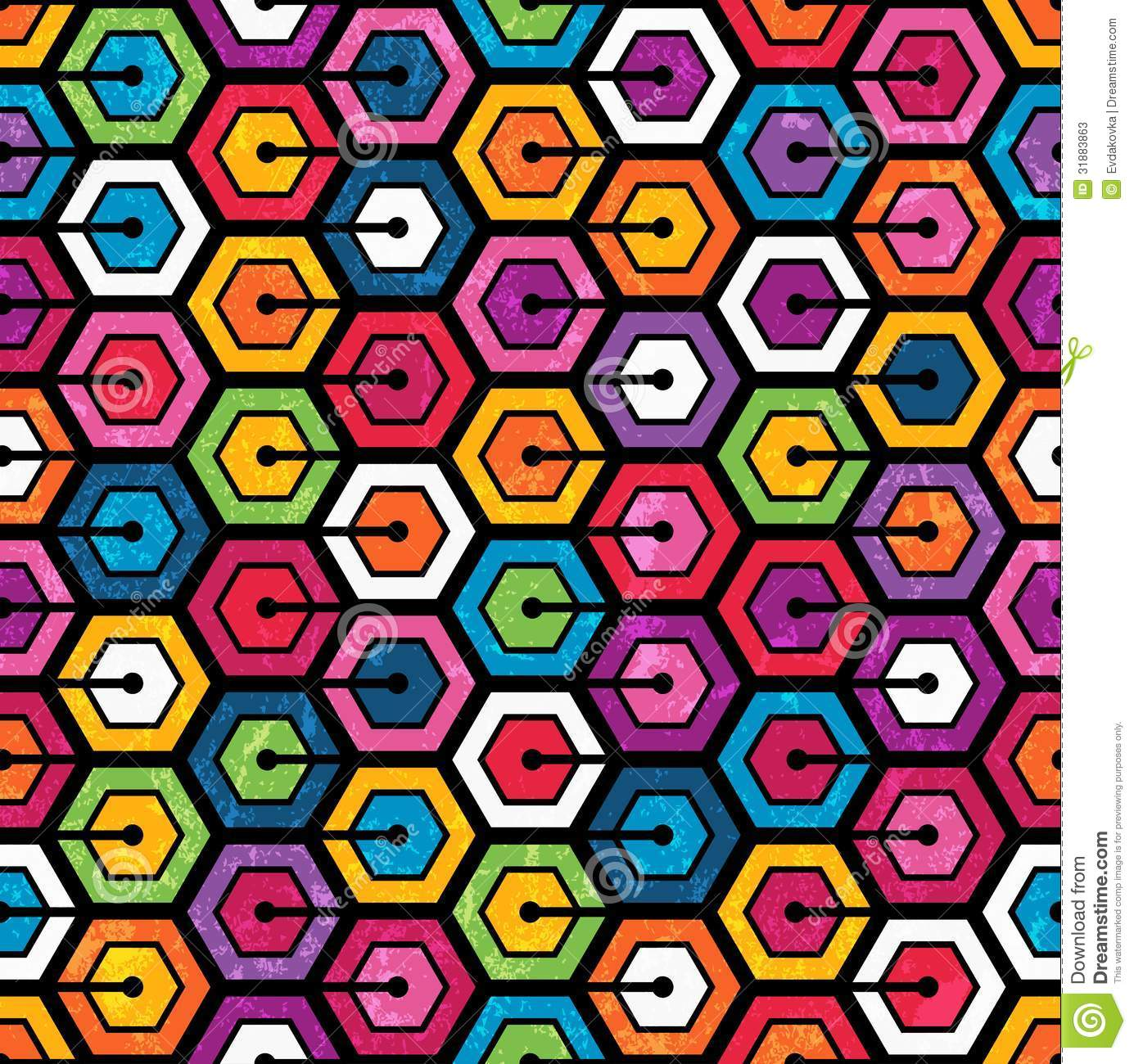 Colorful Geometric Pattern With Hexagons Stock Vector