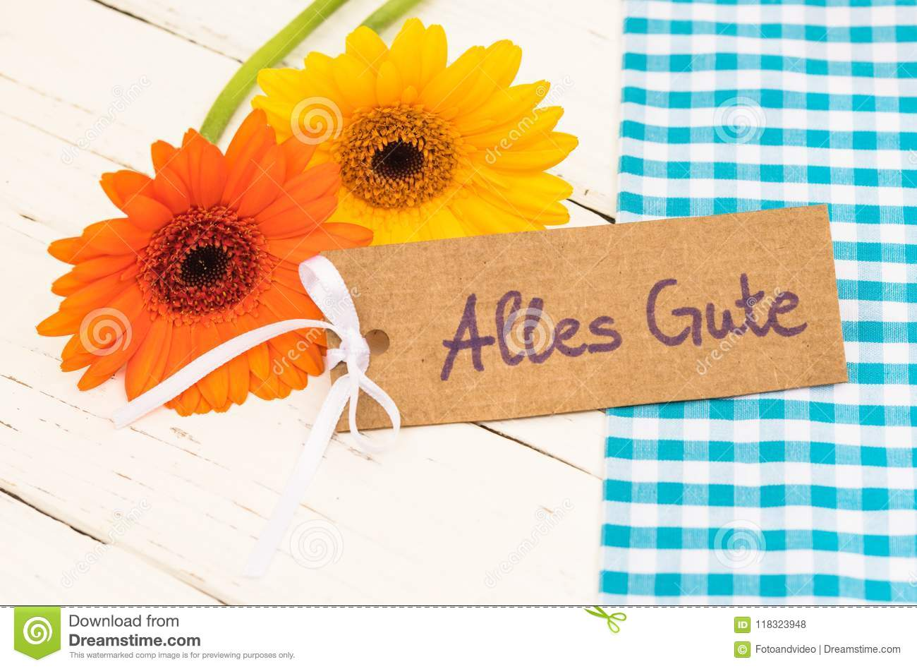 Gerbera Daisy Flowers And Greeting Card With German Text Alles Gute