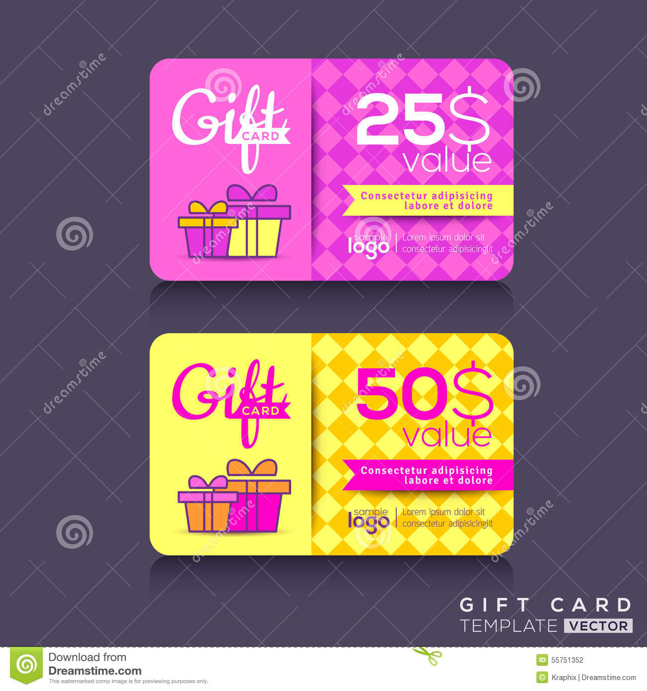 colorful gift card design template stock vector image 55751352. Black Bedroom Furniture Sets. Home Design Ideas