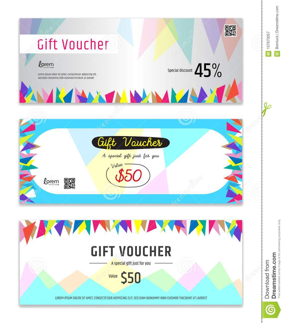 Colorful Gift certificate, voucher, gift card or cash coupon tem