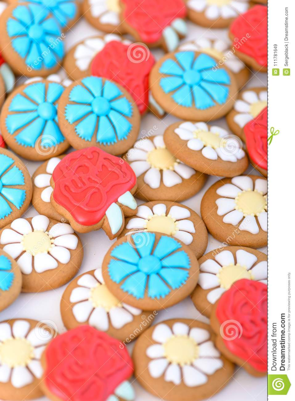 Colorful gingerbread cookie in the shape of flowers