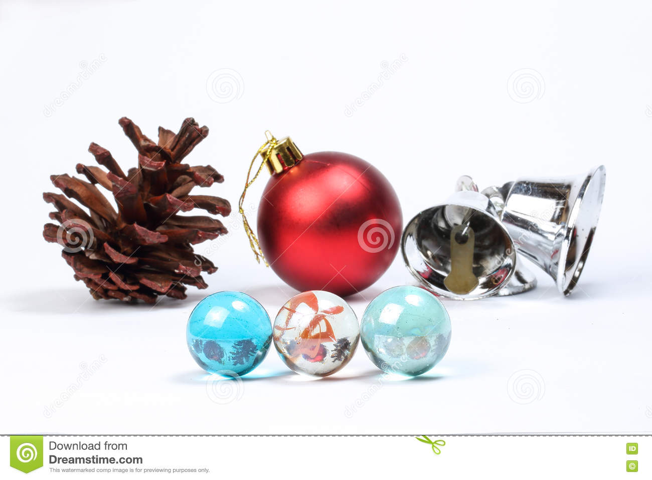 Colorful Glass Marble Pine Cone Christmas Stock Image Image Of