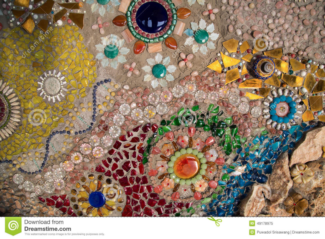 Colorful Glass Mosaic Art And Abstract Wall Stock Image
