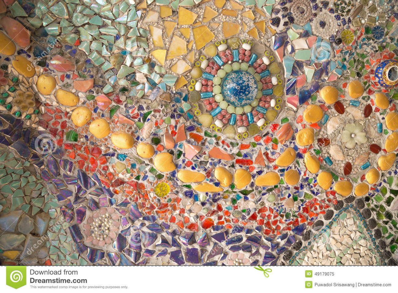 Colorful Glass Mosaic Art And Abstract Wall Stock Photo Image