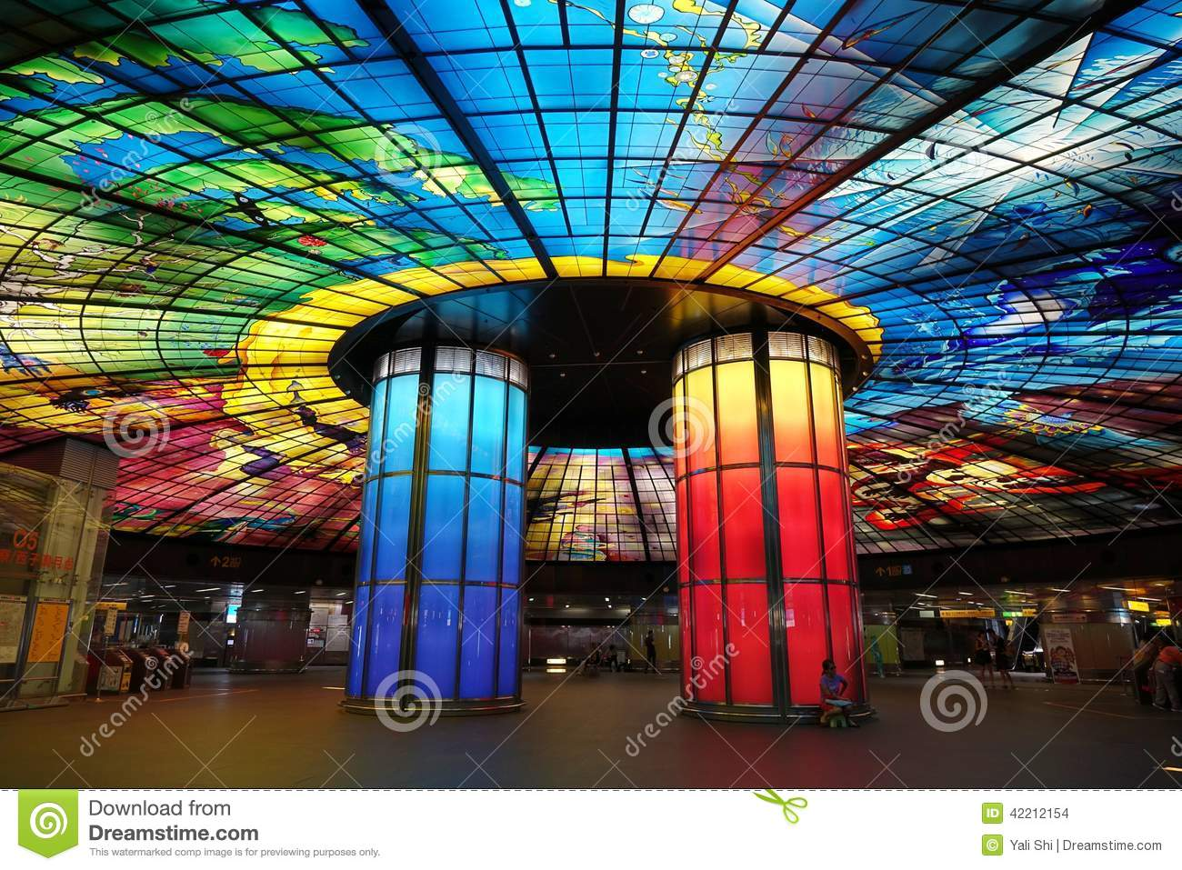 Colorful Glass Work Ceiling And Columns Editorial Stock