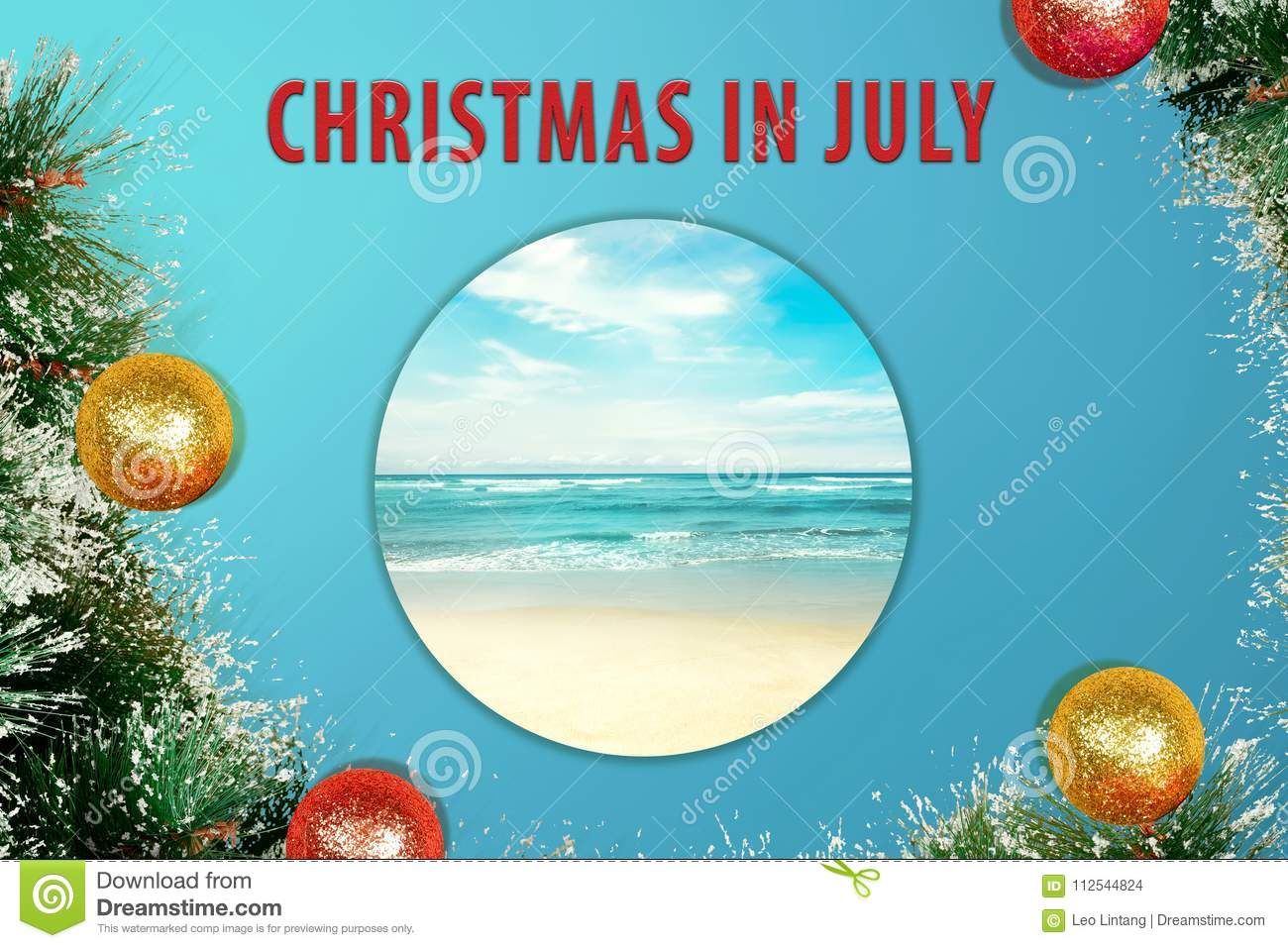 Christmas In July Background Images.Colorful Glitter Decoration On Christmas In July Stock Photo