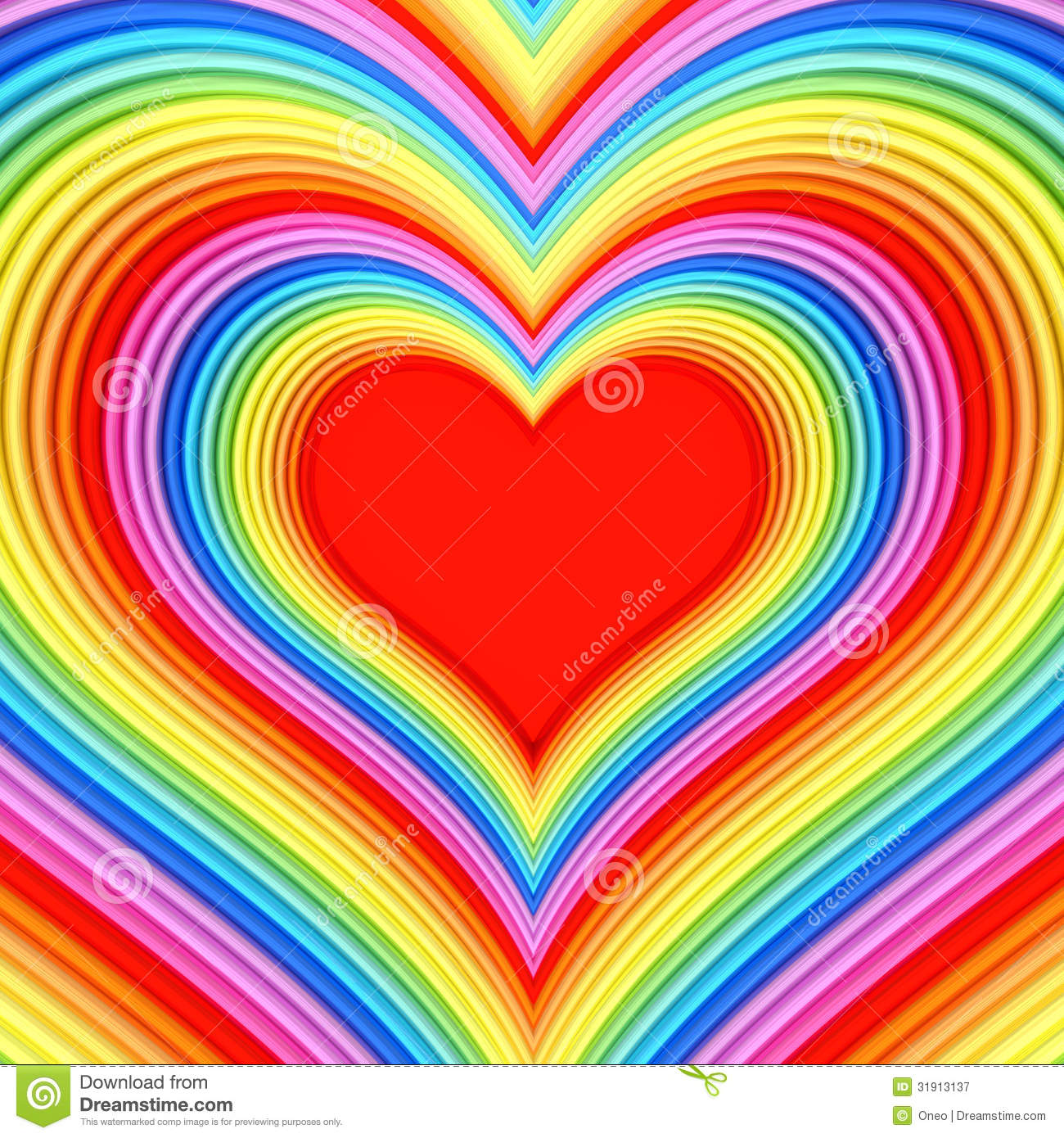 Colorful Glossy Heart Shape With Red Center Royalty Free