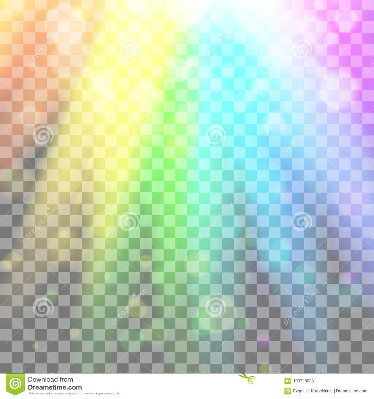 Colorful glowing light. Rainbow rays. Rainbow . Glaring effect with transparency. Graphic element for documents, templates,