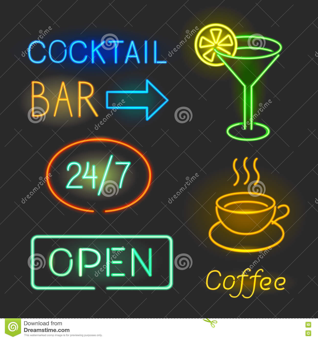 Colorful glowing neon lights graphic designs for cafe and bar signs download colorful glowing neon lights graphic designs for cafe and bar signs on black background aloadofball Image collections