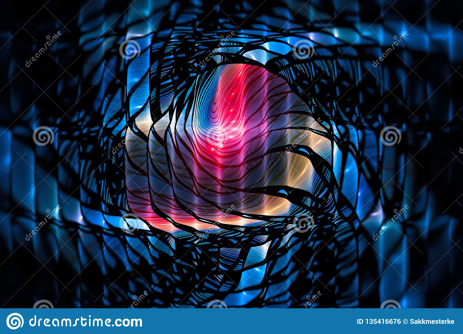 Colorful glowing stained glass computer generated abstract background