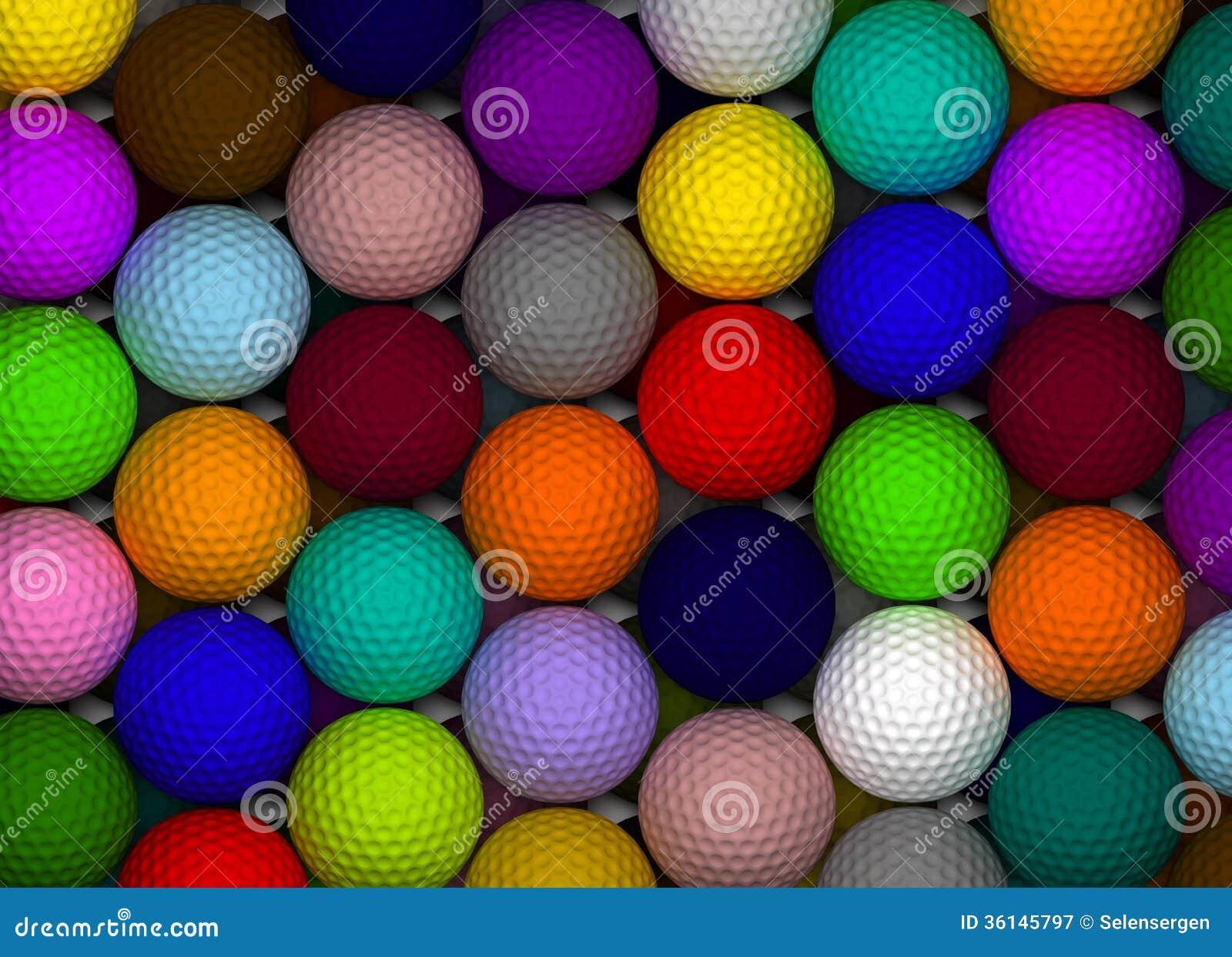 Colorful Golf Balls stock illustration. Illustration of ...