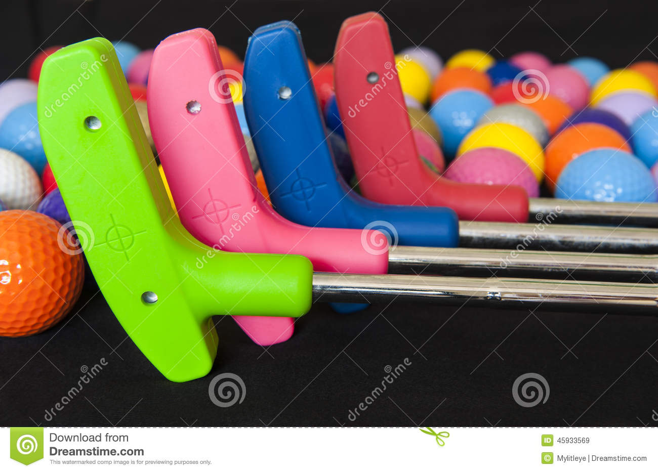 Colorful Golf Balls and Putters
