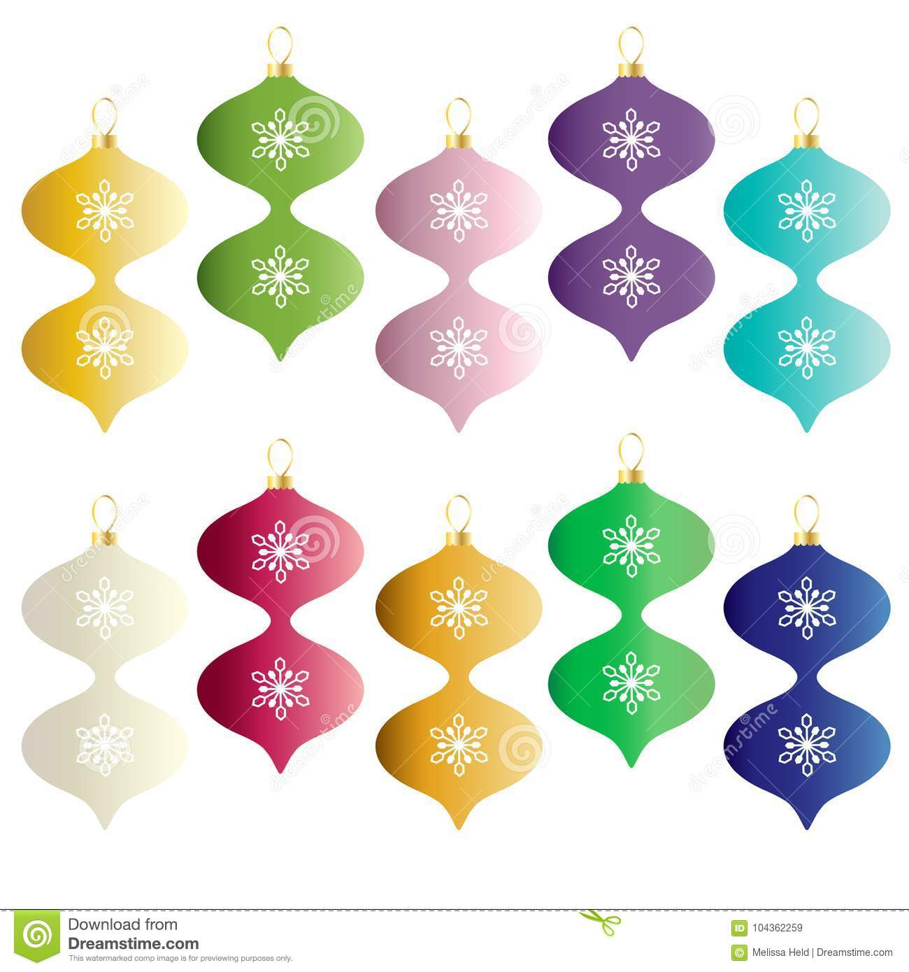 colorful gradient christmas ornaments - Christmas Ornaments Clipart