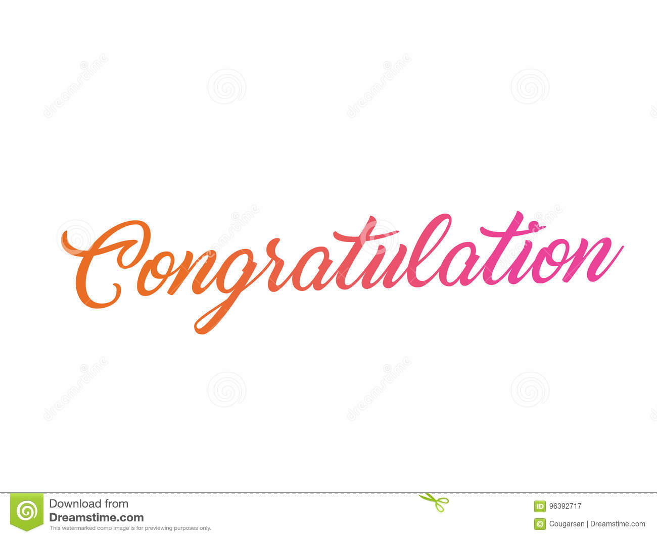 colorful gradient isolated hand writing word congratulation stock