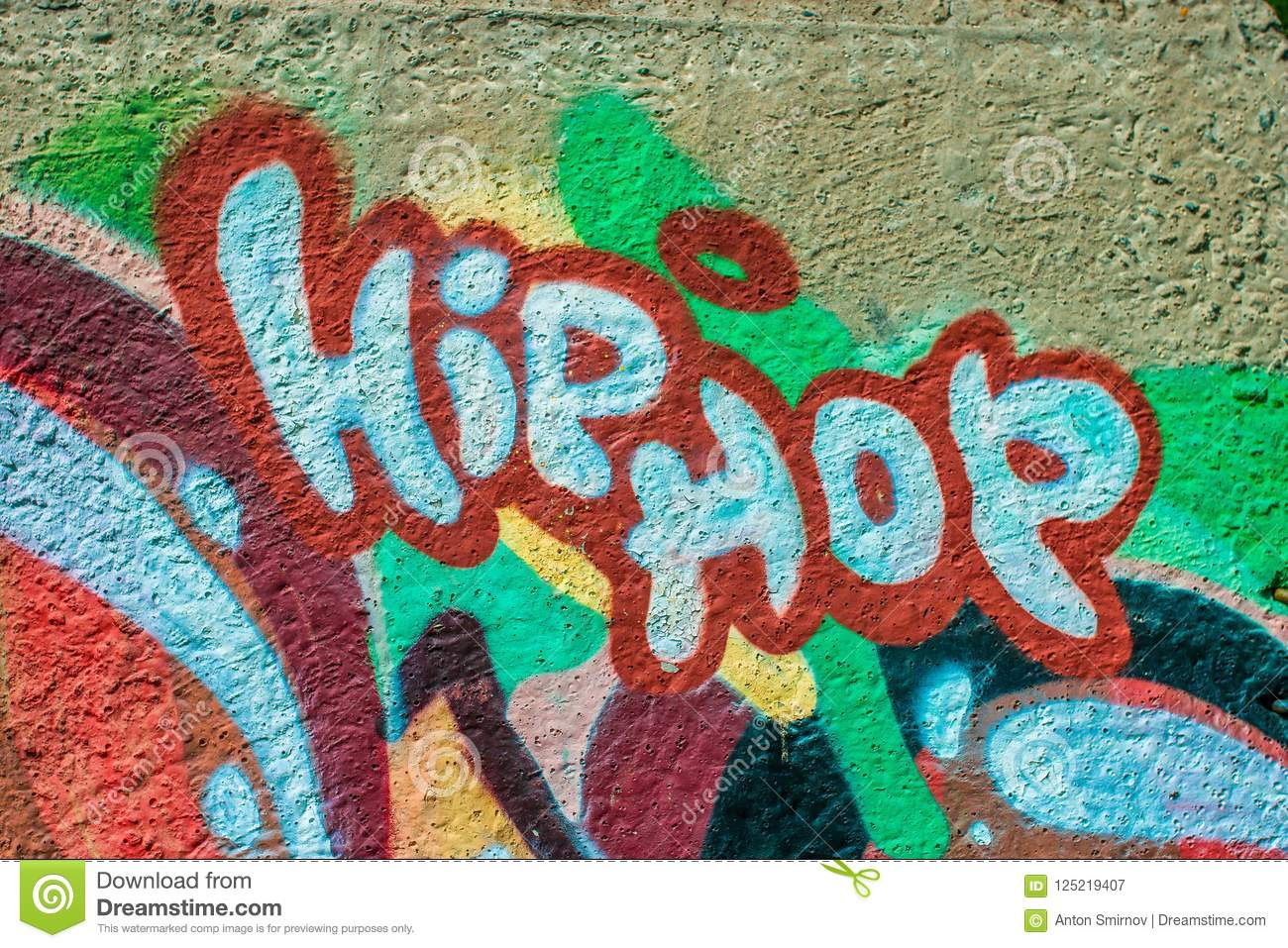Beautiful street art graffiti abstract creative drawing fashion colors on the walls of the city urban contemporary culture
